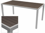 Sedona 28'' X 32'' Rectangular Table with Espresso Nevada Slat Table Top - Anodized Silver [SC-2401-412-ESP-SC-1009-516-ANS-SCON]