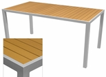 Sedona 28'' X 32'' Rectangular Table with Teak Nevada Slat Table Top - Anodized Silver [SC-2401-412-TEK-SC-1009-516-ANS-SCON]