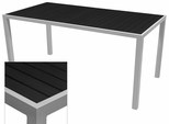 Sedona 32'' X 48'' Rectangular Table with Black Nevada Slat Table Top - Anodized Silver [SC-2401-414-BLK-SC-1009-524-ANS-SCON]