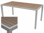 Sedona 32'' X 48'' Rectangular Table with Gray Nevada Slat Table Top - Anodized Silver [SC-2401-414-GRY-SC-1009-524-ANS-SCON]