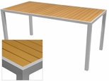 Sedona 32'' X 48'' Rectangular Table with Teak Nevada Slat Table Top - Anodized Silver [SC-2401-414-TEK-SC-1009-524-ANS-SCON]