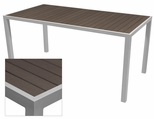 Sedona 32'' X 64'' Rectangular Table with Espresso Nevada Slat Table Top - Anodized Silver [SC-2401-405-ESP-SC-1009-521-ANS-SCON]