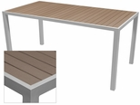 Sedona 32'' X 64'' Rectangular Table with Gray Nevada Slat Table Top - Anodized Silver [SC-2401-405-GRY-SC-1009-521-ANS-SCON]