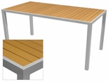 Sedona 32'' X 64'' Rectangular Table with Teak Nevada Slat Table Top - Anodized Silver [SC-2401-405-TEK-SC-1009-521-ANS-SCON]