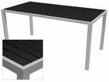 Sedona 32'' X 96'' Rectangular Table with Black Nevada Slat Table Top - Anodized Silver [SC-2401-405-BLK-SC-1009-522-ANS-SCON]