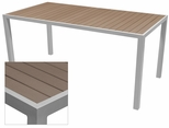 Sedona 32'' X 96'' Rectangular Table with Gray Nevada Slat Table Top - Anodized Silver [SC-2401-405-GRY-SC-1009-522-SCON]