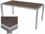 Sedona 36'' X 108'' Rectangular Table with Espresso Nevada Slat Table Top - Anodized Silver [SC-2401-406-ESP-SC-1009-529-ANS-SCON]