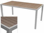 Sedona 36'' X 108'' Rectangular Table with Gray Nevada Slat Table Top - Anodized Silver [SC-2401-406-GRY-SC-1009-529-SCON]