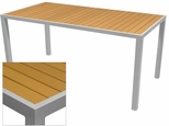 Sedona 36'' X 108'' Rectangular Table with Teak Nevada Slat Table Top - Anodized Silver [SC-2401-406-TEK-SC-1009-529-ANS-SCON]