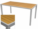 Sedona 36'' X 72'' Rectangular Table with Teak Nevada Slat Table Top - Anodized Silver [SC-2401-406-TEK-SC-1009-528-ANS-SCON]