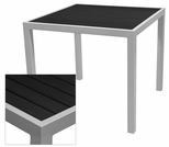 Sedona 24'' Square Table with Black Nevada Slat Table Top - Anodized Silver [SC-2401-402-BLK-SC-1009-511-SCON]