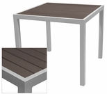 Sedona 24'' Square Table with Espresso Nevada Slat Table Top - Anodized Silver [SC-2401-402-ESP-SC-1009-511-ANS-SCON]