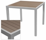 Sedona 24'' Square Table with Gray Nevada Slat Table Top - Anodized Silver [SC-2401-402-GRY-SC-1009-511-ANS-SCON]