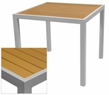 Sedona 24'' Square Table with Teak Nevada Slat Table Top - Anodized Silver [SC-2401-402-TEK-SC-1009-511-ANS-SCON]