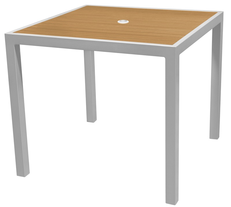 Sedona 24u0027u0027 Square Table With Teak Nevada Slat Table Top   Anodized Silver  By Source Contract