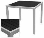 Sedona 32'' Square Table with Black Nevada Slat Table Top - Anodized Silver [SC-2401-405-BLK-SC-1009-520-ANS-SCON]