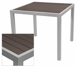 Sedona 32'' Square Table with Espresso Nevada Slat Table Top - Anodized Silver [SC-2401-405-ESP-SC-1009-520-ANS-SCON]