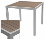 Sedona 32'' Square Table with Gray Nevada Slat Table Top - Anodized Silver [SC-2401-405-GRY-SC-1009-520-ANS-SCON]