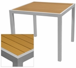 Sedona 32'' Square Table with Teak Nevada Slat Table Top - Anodized Silver [SC-2401-405-TEK-SC-1009-520-ANS-SCON]