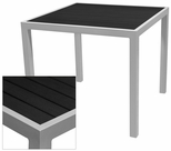 Sedona 36'' Square Table with Black Nevada Slat Table Top - Anodized Silver [SC-2401-406-BLK-SC-1009-527-SCON]