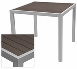 Sedona 36'' Square Table with Espresso Nevada Slat Table Top - Anodized Silver [SC-2401-406-ESP-SC-1009-527-ANS-SCON]
