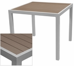 Sedona 36'' Square Table with Gray Nevada Slat Table Top - Anodized Silver [SC-2401-406-GRY-SC-1009-527-ANS-SCON]
