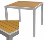Sedona 36'' Square Table with Teak Nevada Slat Table Top - Anodized Silver [SC-2401-406-TEK-SC-1009-527-ANS-SCON]