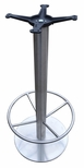 Stainless Steel Round Bar Height Table Base with 18'' Base Spread and 19'' Footring and Cast Iron Top Plate [JIS3-18RDTP12BHFR-JIB]