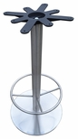 Stainless Steel Round Bar Height Table Base with 22'' Base Spread and 19'' Footring and Cast Iron Top Plate [JIS3-22RDTP17BHFR-JIB]