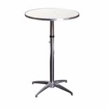 Standard Series Height Adjustable Round Pedestal Table with Aluminum Edge, Chrome Plated Steel Column, and Mayfoam Top - 36'' Diameter [MF36RDPEDADJ-CAE-MFC]