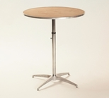 Standard Series Height Adjustable Round Pedestal Table with Chrome Plated Steel Column and Plywood Top - 36'' Diameter [MP36RDPEDADJ-MFC]