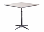 Standard Series Height Adjustable Square Pedestal Table with Aluminum Edge, Chrome Plated Steel Column, and Mayfoam Top - 36''D x 36''W [MF36SQPEDADJ-CAE-MFC]
