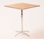 Standard Series Height Adjustable Square Pedestal Table with Chrome Plated Steel Column and Plywood Top - 30''D x 30''W [MP30SQPEDADJ-MFC]