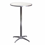 Standard Series Round Pedestal Table with Aluminum Edge, Chrome Plated Steel Column, and Mayfoam Top - 36''Dia x 42''H [MF36RDPED42-CAE-MFC]