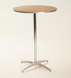 Standard Series Round Pedestal Table with Chrome Plated Steel Column and Plywood Top - 30''Dia x 42''H [MP30RDPED42-MFC]
