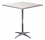 Standard Series Square Pedestal Table with Aluminum Edge, Chrome Plated Steel Column, and Mayfoam Top - 36''D x 36''W x 42''H [MF36SQPED42-CAE-MFC]