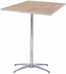 Standard Series Square Pedestal Table with Chrome Plated Steel Column and Plywood Top - 36''D x 36''W x 42''H [MP36SQPED42-MFC]