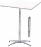 Standard Series Square Height Adjustable Pedestal Table with Aluminum Edge, Chrome Plated Steel Column, and Mayfoam Top - 36''D x 36''W [MF36SQPED3042-CAE-MFC]