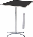 Standard Series Square Pedestal Table with Height Adjustable Columns, Chrome Plated Steel Column, and Laminate Top - 30''D x 30''W [ML30SQPED3042-MFC]