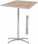 Standard Series Square Pedestal Table with Height Adjustable Columns, Chrome Plated Steel Column, and Plywood Top - 36''D x 36''W [MP36SQPED3042-MFC]