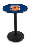 Syracuse University 36''H Black Wrinkle Finish Counter Height Pub Table with Round Base [L214B36SYRCSE-FS-HOB]