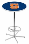 Syracuse University 42''H Chrome Finish Bar Height Pub Table with Foot Ring [L216C42SYRCSE-FS-HOB]