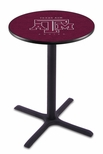 Texas A&M University 36''H Black Wrinkle Finish Counter Height Pub Table with X-Base [L211B36TEXA-M-FS-HOB]