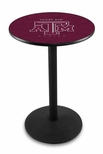 Texas A&M University 36''H Black Wrinkle Finish Counter Height Pub Table with Round Base [L214B36TEXA-M-FS-HOB]