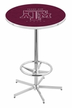 Texas A&M University 42''H Chrome Finish Bar Height Pub Table with Foot Ring [L216C42TEXA-M-FS-HOB]