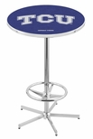 Texas Christian University 42''H Chrome Finish Bar Height Pub Table with Foot Ring [L216C42TEXCHR-FS-HOB]