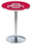 The Ohio State University 36''H Black Wrinkle Finish Counter Height Pub Table with Round Base [L214B36OHIOST-FS-HOB]