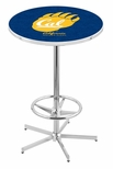 University of California Berkeley 42''H Chrome Finish Bar Height Pub Table with Foot Ring [L216C42CAL-UN-FS-HOB]