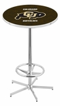 University of Colorado 42''H Chrome Finish Bar Height Pub Table with Foot Ring [L216C42COLOUN-FS-HOB]