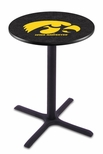 University of Iowa 36''H Black Wrinkle Finish Counter Height Pub Table with X-Base [L211B36IOWAUN-FS-HOB]